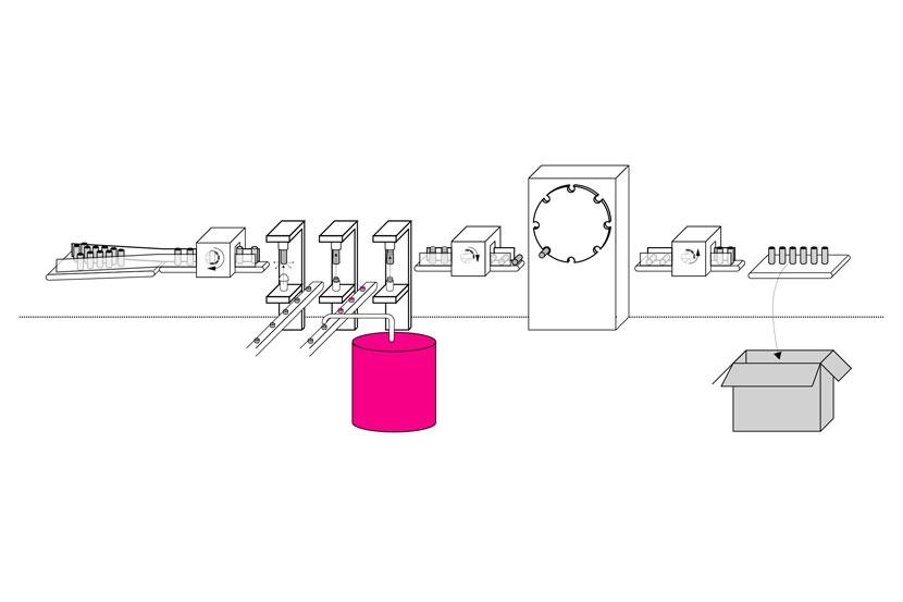 Lindal Dispenser Production Line Illustration